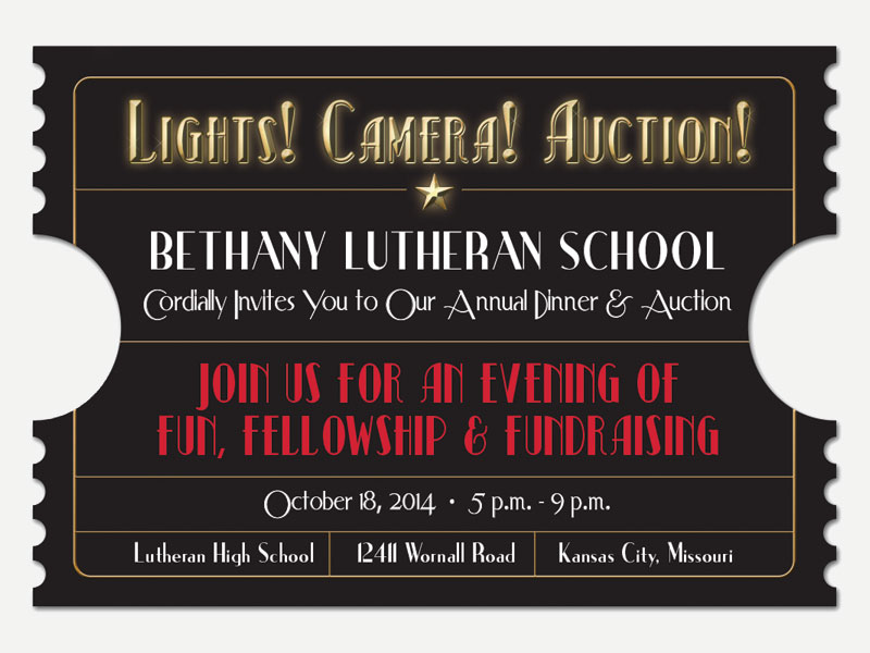Lights Camera Auction Invite